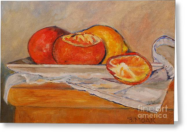 Still Life With Tangerines Paintings Greeting Cards - Tangerines with Lemon Greeting Card by Barbara Moak
