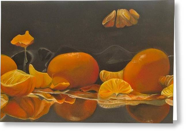 Tangerines Greeting Cards - Tangible Tangerines I Greeting Card by Paola T Pileri Hernandez