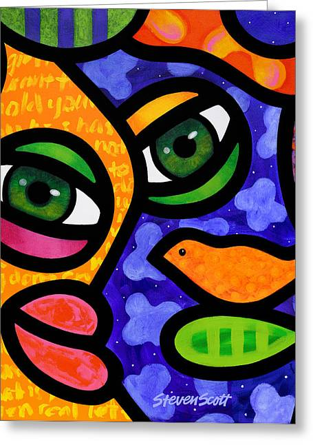 Abstract Faces Greeting Cards - Tangier Greeting Card by Steven Scott
