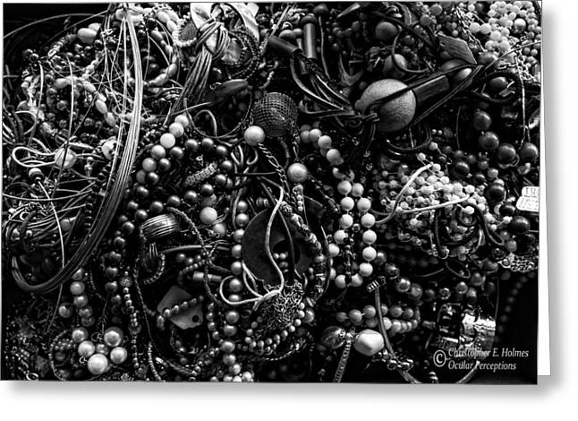 Tangled Baubles - Bw Greeting Card by Christopher Holmes