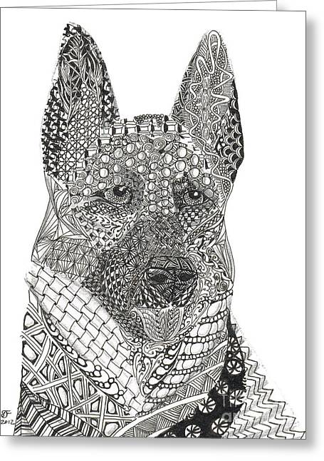 Guard Dog Greeting Cards - Tangled German Shepherd Greeting Card by Dianne Ferrer
