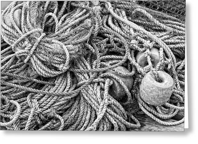 New England Ocean Greeting Cards - Tangled Rope On Dock in Maine Greeting Card by Keith Webber Jr