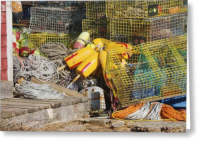 Commercial Greeting Cards - Tangled Rope And Lobster Traps On Dock In Maine Greeting Card by Keith Webber Jr