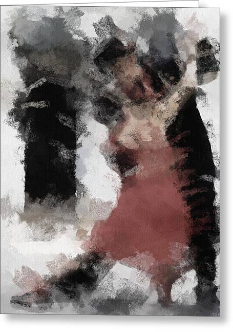 Red Dress Greeting Cards - Tango 2 Greeting Card by Ayse Deniz