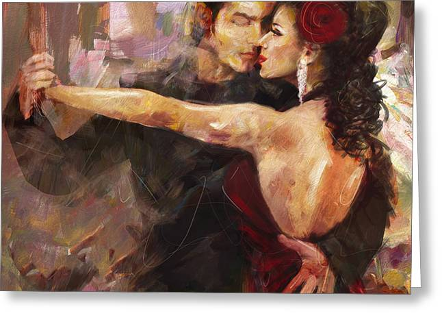 Stage Plays Greeting Cards - Tango - 2 Greeting Card by Mahnoor Shah