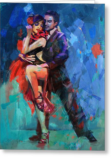 Expressionist Girl Greeting Cards - Tango 5 Greeting Card by Mahnoor Shah