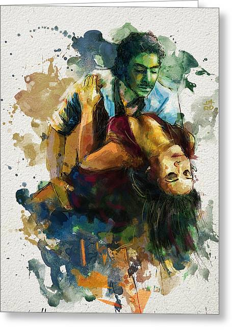 Stage Plays Greeting Cards - Tango 7B Greeting Card by Maryam Mughal