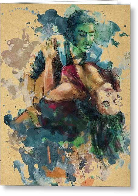 Dancing Girl Greeting Cards - Tango 7C Greeting Card by Maryam Mughal