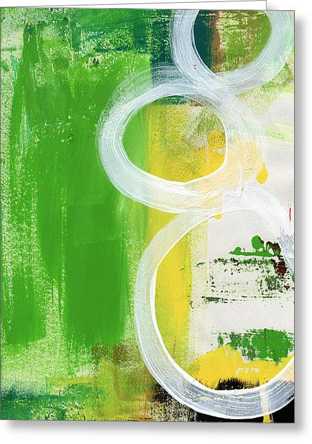 Best Sellers -  - Green And Yellow Abstract Greeting Cards - Tango- Abstract Painting Greeting Card by Linda Woods