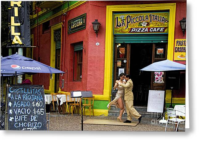 Boca Greeting Cards - Tango Dancing in La Boca Greeting Card by David Smith