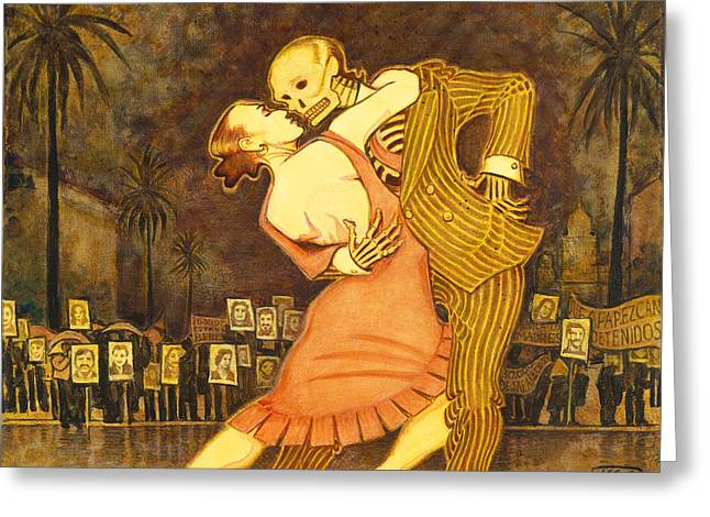 Component Paintings Greeting Cards - Tango en la Plaza de Mayo Greeting Card by Ruth Hooper