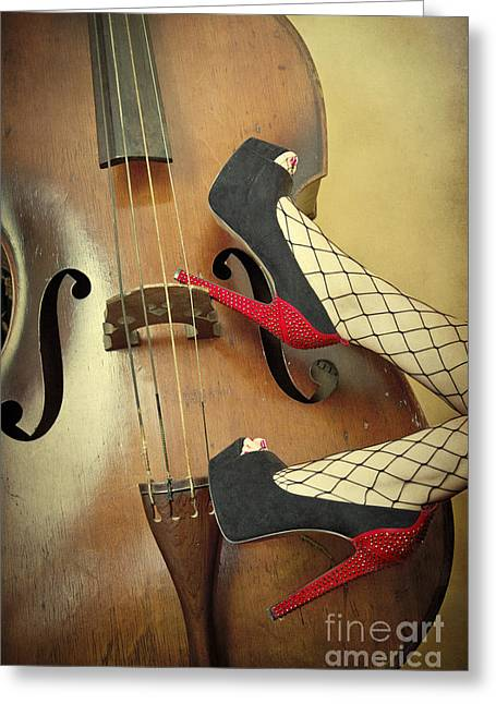 Playful Greeting Cards - Tango For Strings Greeting Card by Evelina Kremsdorf