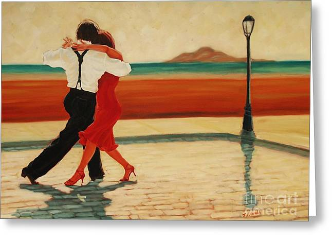 Recently Sold -  - People Paintings Greeting Cards - Tango Heat Greeting Card by Janet McDonald