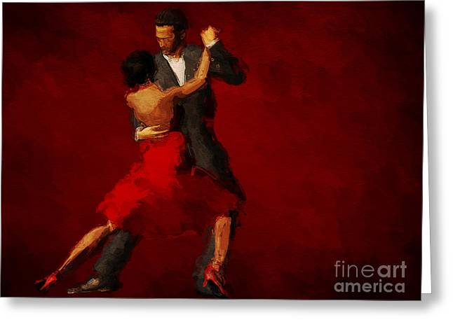Isolated Paintings Greeting Cards - Tango Greeting Card by John Edwards