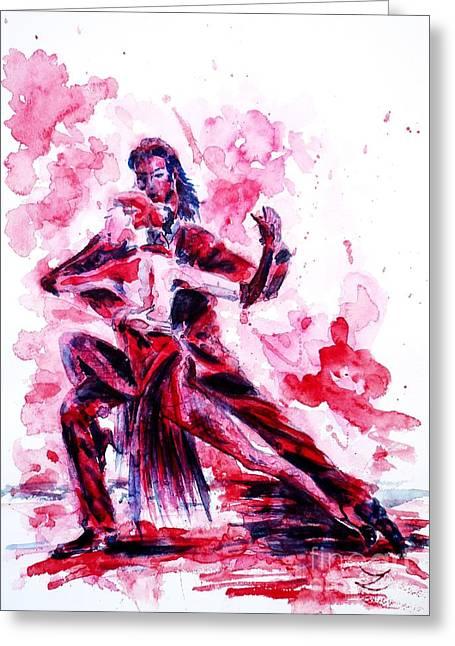 Zaira Dzhaubaeva Greeting Cards - Tango  Greeting Card by Zaira Dzhaubaeva