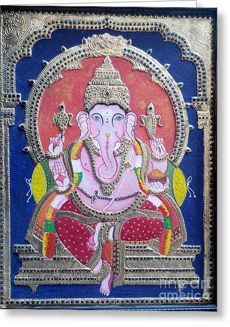Tanjore Greeting Cards - Tanjore Painting -Ganesha Greeting Card by Rekha Artz