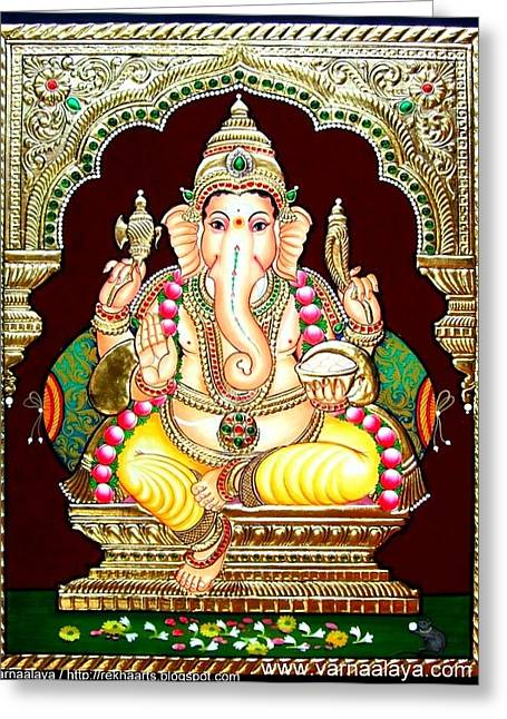 Tanjore Greeting Cards - Tanjore Painting -Ganesha Greeting Card by Varnaalaya