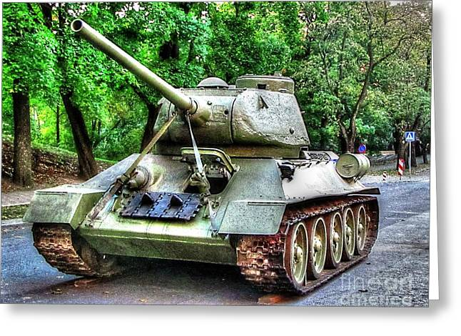 People Pyrography Greeting Cards - Tank In Tallin Greeting Card by Yury Bashkin