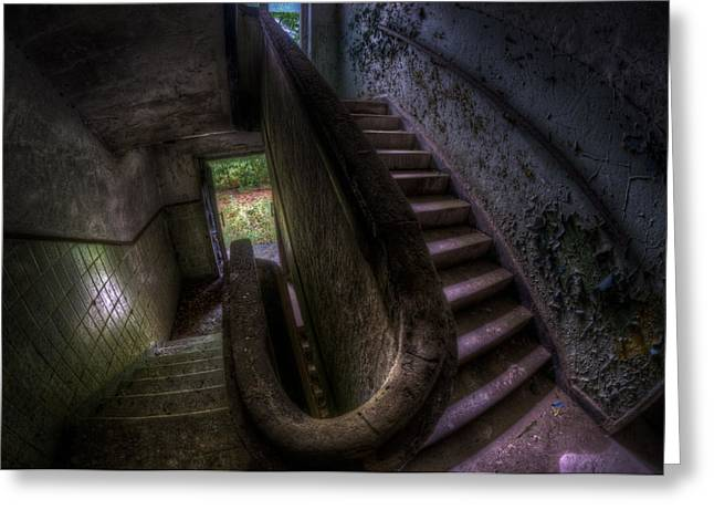 Glass Wall Greeting Cards - Tank steps Greeting Card by Nathan Wright