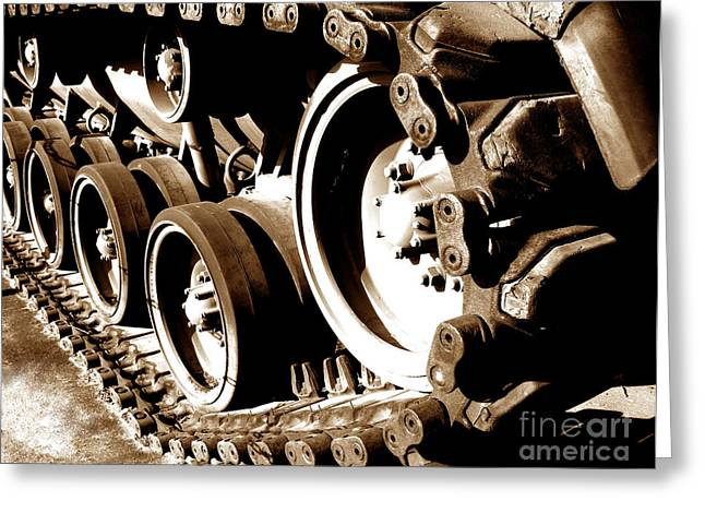 Sprockets Greeting Cards - Tank Tracks Greeting Card by Olivier Le Queinec