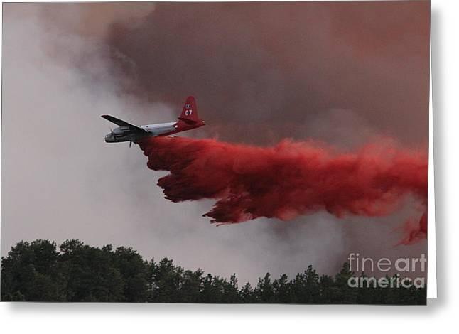 Myrtle Greeting Cards - Tanker 07 drops on the Myrtle Fire Greeting Card by Bill Gabbert