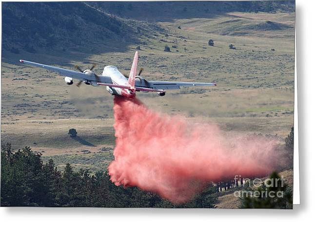 Greeting Card featuring the photograph Tanker 45 Dropping On Whoopup Fire by Bill Gabbert
