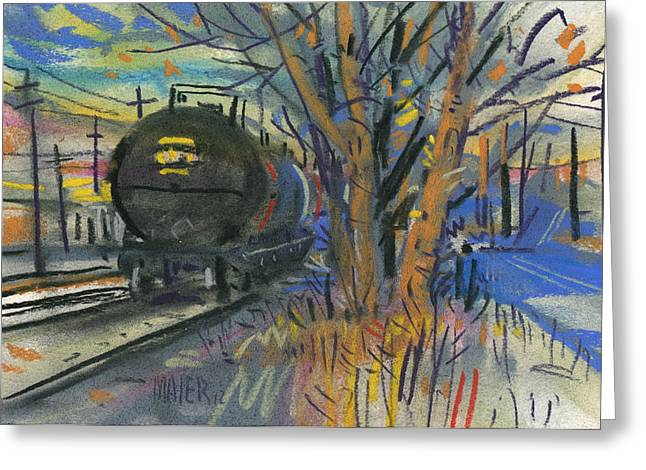 Industrial Landscape Greeting Cards - Tankers on the Line Greeting Card by Donald Maier