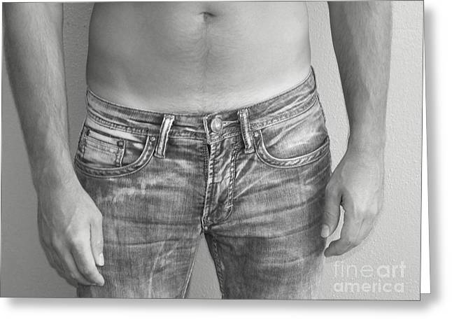 Tanline Greeting Cards - Tanline in Jeans Black and White Greeting Card by Gary F