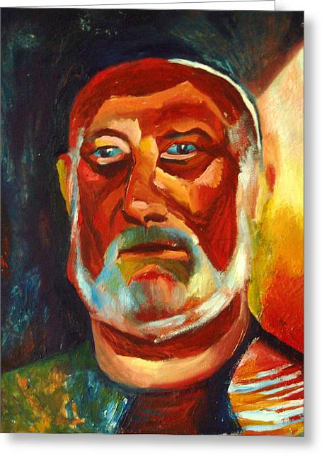 Old Man With Beard Greeting Cards - Tanned man with a gray beard Greeting Card by Eva Kryshtapovich