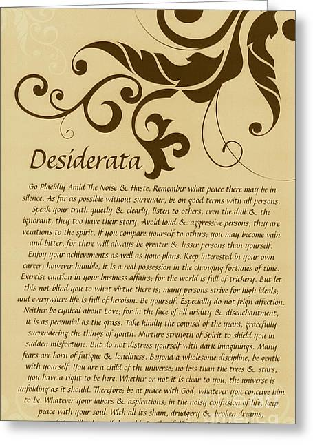 Motivational Poster Drawings Greeting Cards - Tanned Typography Art Desiderata with Flourish Greeting Card by Desiderata Gallery