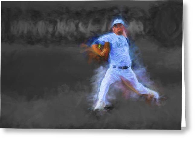 Champs Greeting Cards - Tanner Tully Elkhart Central Blazers Pitches The Winning Game Champs 2013 Greeting Card by David Haskett