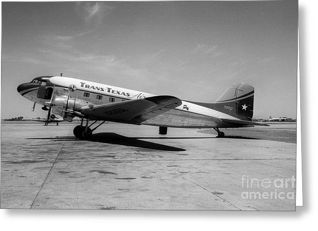 Fixed Wing Multi Engine Greeting Cards - Tans-Texas Air Douglas DC-3 Greeting Card by Wernher Krutein