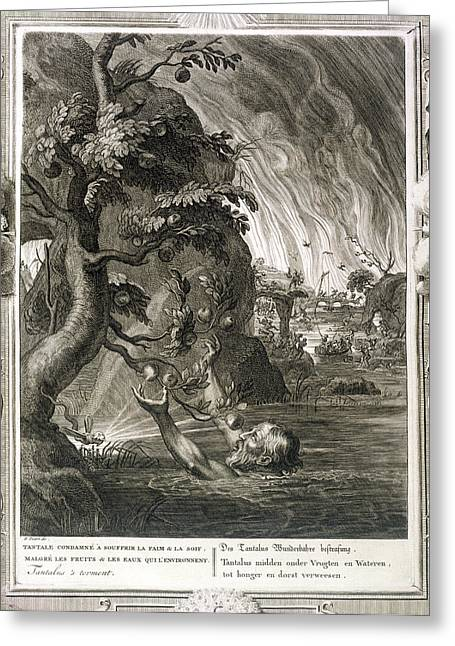 Stretching Drawings Greeting Cards - Tantalus Torment, 1731 Greeting Card by Bernard Picart