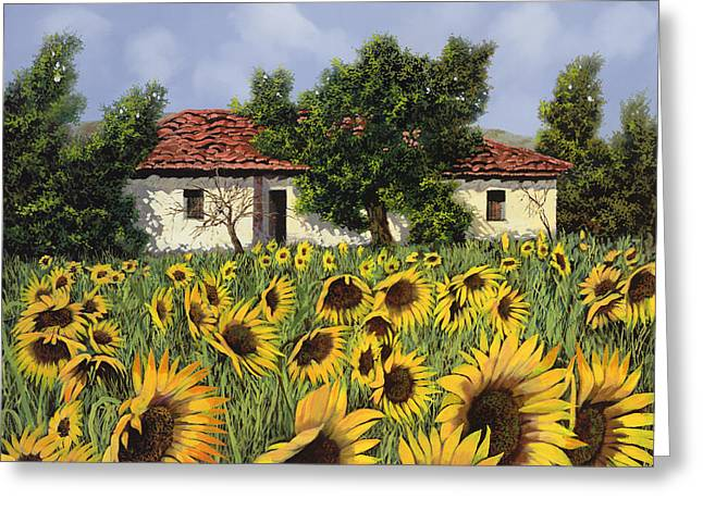 Chianti Paintings Greeting Cards - Tanti Girasoli Davanti Greeting Card by Guido Borelli