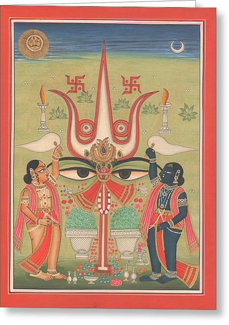 Gallery Sati Greeting Cards - Tantra Tantrik Artwork Painting Hindu Mysterious Art Painting Artist  Greeting Card by A K Mundhra