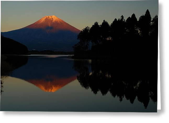 Mount Photographs Greeting Cards - Tanukiko Fuji Greeting Card by Aaron S Bedell