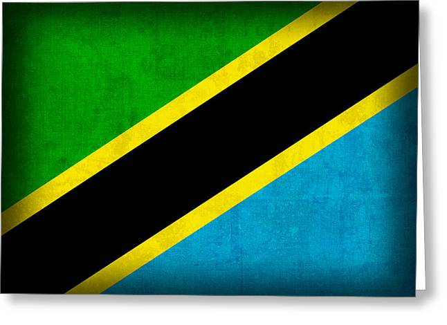 Africa Mixed Media Greeting Cards - Tanzania Flag Distressed Vintage Finish Greeting Card by Design Turnpike