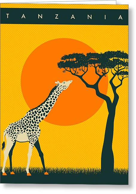 Best Sellers -  - Sunset Posters Greeting Cards - Tanzania Travel Poster Greeting Card by Jazzberry Blue
