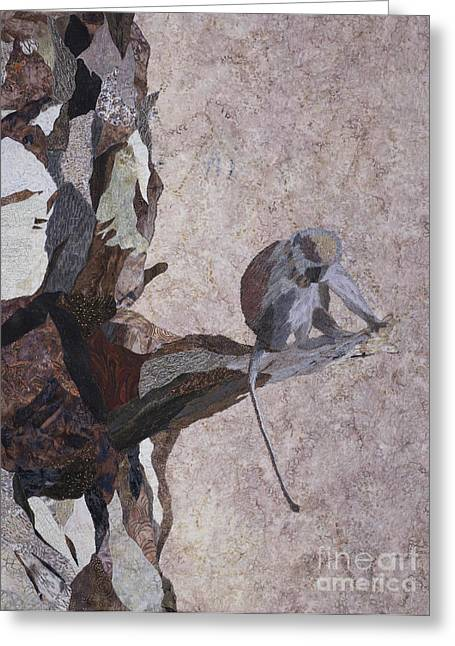 Animal Tapestries - Textiles Greeting Cards - Tanzanian Vervet Monkey Greeting Card by Patricia Gould