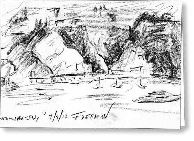 Mediterranean Landscape Drawings Greeting Cards - Taormina Italy Greeting Card by Valerie Freeman
