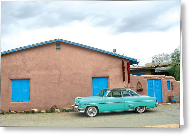 Taos Digital Greeting Cards - Taos Antique Car Greeting Card by John Castell