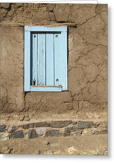 Southwest Church Greeting Cards - Taos Blue Window  Greeting Card by Ann Powell