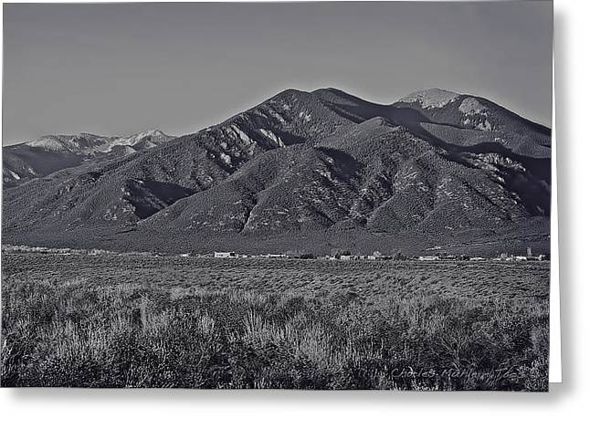 Taos Greeting Cards - Taos in black and white II Greeting Card by Charles Muhle