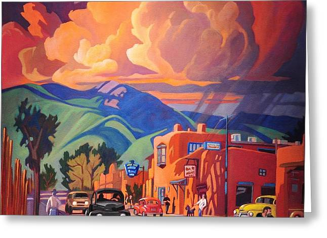Canary Yellow Greeting Cards - Taos Inn Monsoon Greeting Card by Art James West