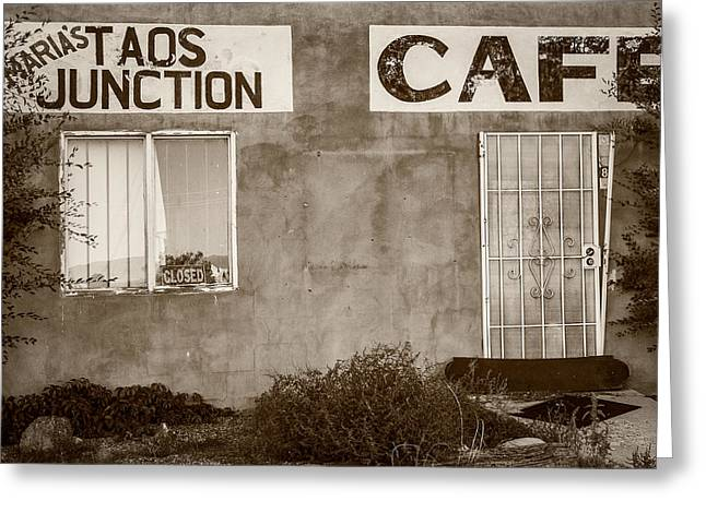 Menu Greeting Cards - Taos Junction Cafe Greeting Card by Steven Bateson