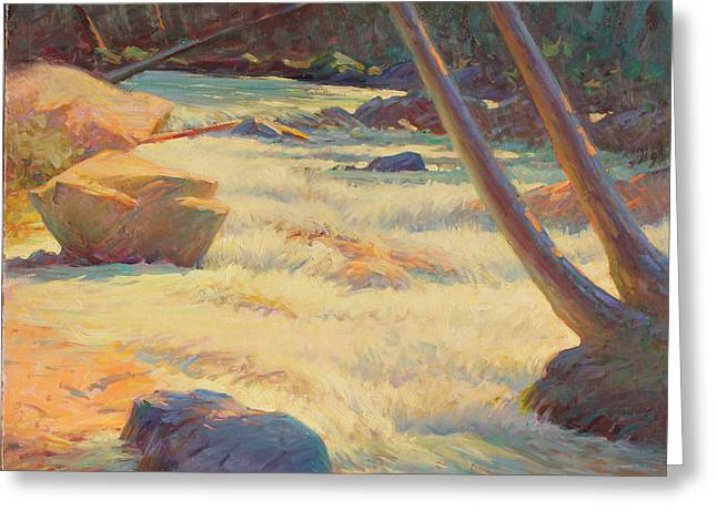 Western Pencil Drawings Greeting Cards - Taos Mountain Rapids Greeting Card by Ernest Principato