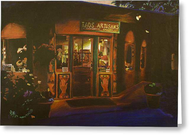 Taos Drawings Greeting Cards - Taos New Mexico Greeting Card by Katherine Puterka