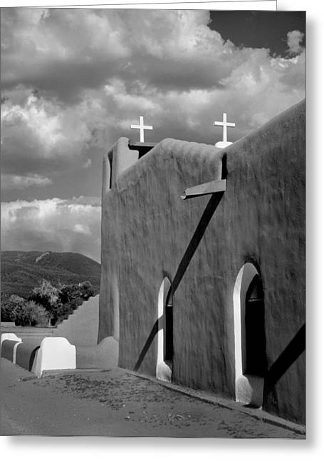 Pueblo Architecture Greeting Cards - Taos Pueblo Church Greeting Card by David and Carol Kelly