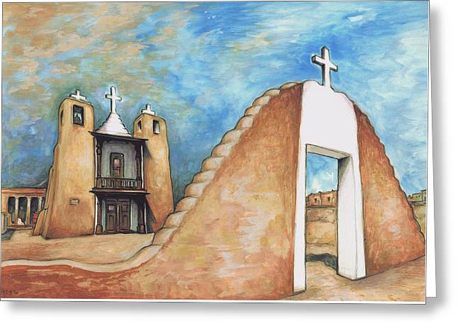 Taos Drawings Greeting Cards - Taos Pueblo New Mexico - Watercolor Painting Greeting Card by Art America - Art Prints - Posters - Fine Art
