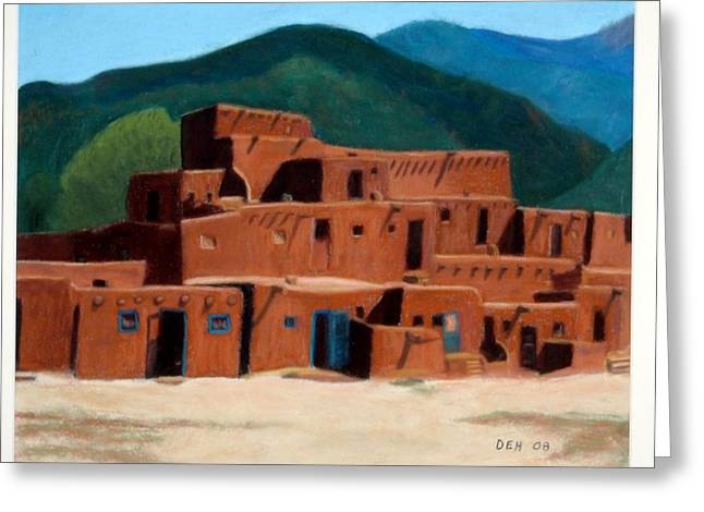 Taos Pastels Greeting Cards - Taos Pueblo  Greeting Card by David Henderson